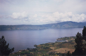 View down to Tuk-Tuk penisular at Lake Toba